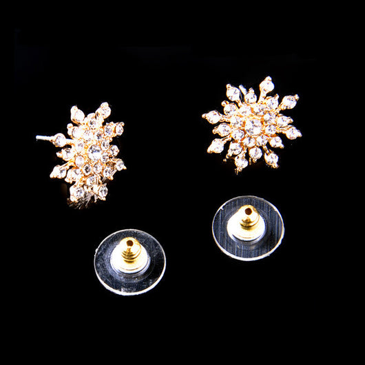 Crystal Snow Flake Stud Earrings - Gold - Earings