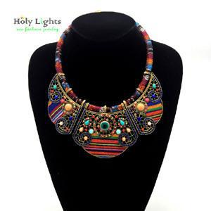 Bohemia Tribal Ethnic Multi-Color Statement Necklace - Multicolor