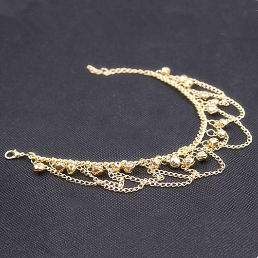 Lovely Gold Bell Chain Tassel Anklets