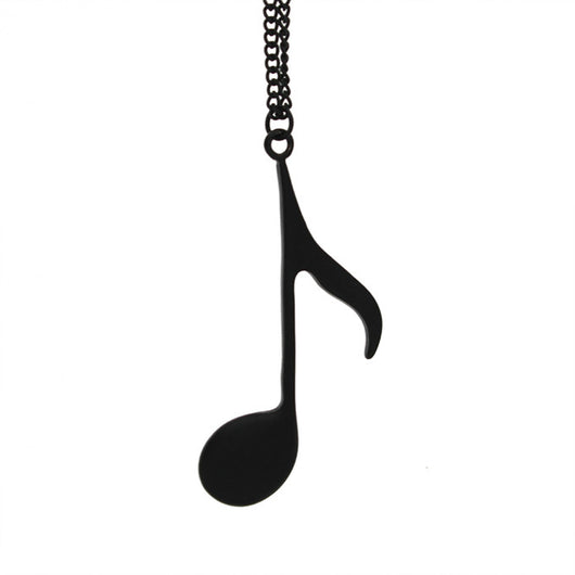 Music Note Pendant In 3 Colors - Black - Necklace