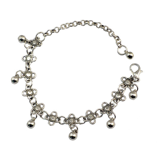 Bohemian Gypsy Turkish Tribal Silver Anklet - Anklets