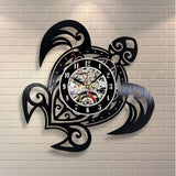 Black Turtle Recycled Vinyl Record Wall Clock