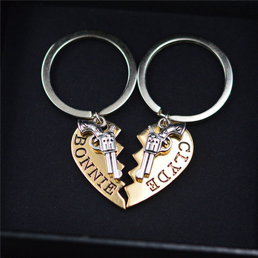 Bonnie & Clyde Pendant Necklaces Or Keychains - 2Pcs - Gold Keychain - Necklace