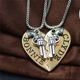 Bonnie & Clyde Pendant Necklaces Or Keychains - 2Pcs - Gold Necklace Set