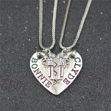 Bonnie & Clyde Pendant Necklaces Or Keychains - 2Pcs - Silver Necklace Set