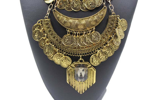 Boho Vintage Ethnic Statement Necklace - Gold