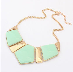 Imitation Gem Stone Statement Necklace