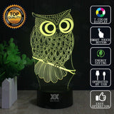 Owl Night Light 3D Led Usb - No Remote