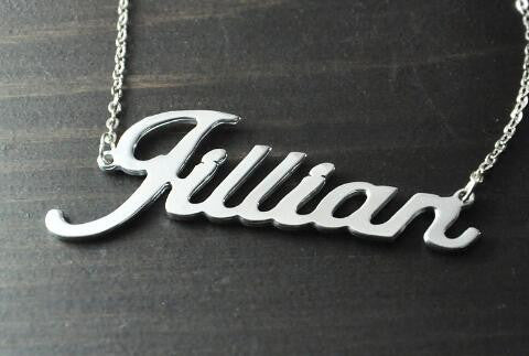 Personalized Name Necklace In Alison Font - Alloy Silver Color / 16 Inch Chain