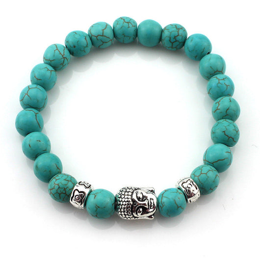 Natural Stone Buddha Bracelets Multi-Color - A - Bracelet