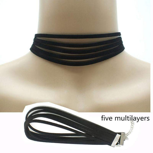 Black Leather Choker Suede Necklace Gold - Silver - White - Five Layers Choker