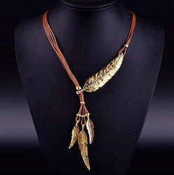 Bohemian Style Feather Pattern Pendant Necklace - D