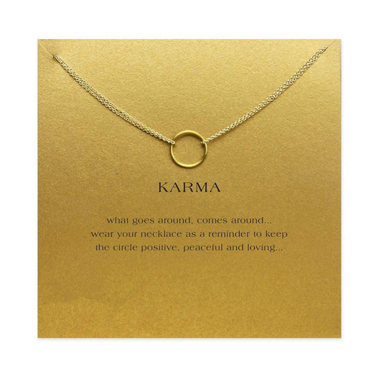 Karma Circle Double Chain Necklace - Gold Color / Need Card