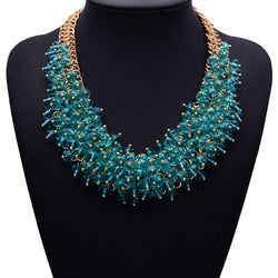 Crystal Statement Necklace - 14K Gold Plated