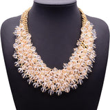 Crystal Statement Necklace - Imitation Rhodium Plated