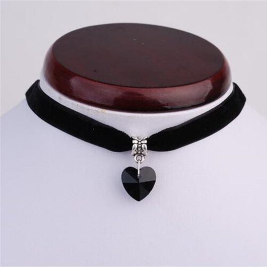 Ocean Choker Crystal Heart Pendant Necklaces - Black - Necklace