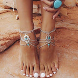 Vintage Silver Turquoise Barefoot Sandals - Anklets