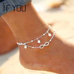 Turquoise Beads Infinity Boho Ankle Bracelet - Anklets