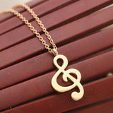 Simple Music Pendant Charm Necklace - Gold Color Plated