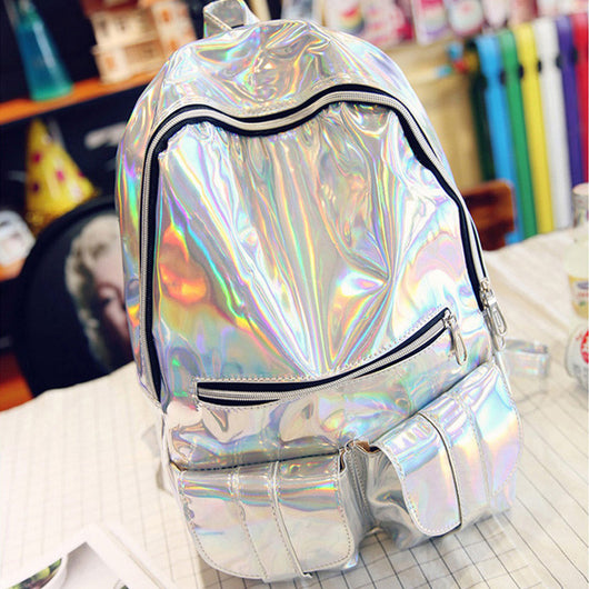 Trendy Holographic Backpack 7 Colors 2 Sizes - Big Silver - Handbag