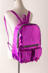 Trendy Holographic Backpack 7 Colors 2 Sizes - Big Rose Red - Handbag