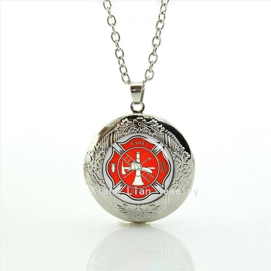 2017 Firefighter Locket Necklace - Silver Plated