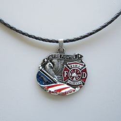 American Heroes - Firefighter Leather Necklace
