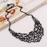 Metallic Hollow Carved Necklace - Black