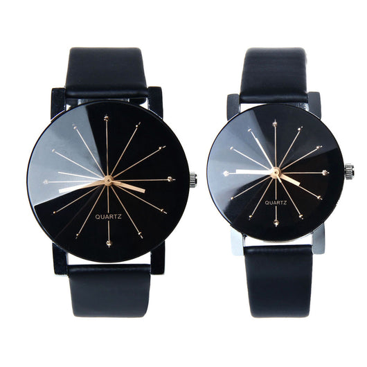 1Pair Men And Women Quartz Dial Clock Leather Wrist Watch - Watches