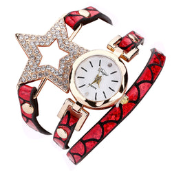 Star Wrist Watch Leather Band Quartz Movement - Red
