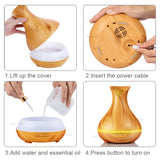 Wood Grain Ultrasonic Air Humidifier - Essential Oil Diffuser