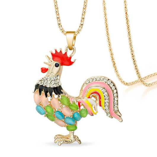 Rooster Crystal Rhinestone Necklace Pendant
