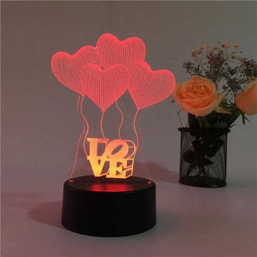 3D * Love 7 Color Gradients Led Table Lamp - Night Light