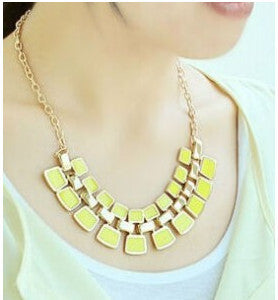 Trendy Link Chain Square Pendant - Yellow - Necklace