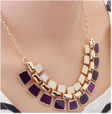Trendy Link Chain Square Pendant - Pruple - Necklace