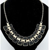 Trendy Link Chain Square Pendant - Black - Necklace