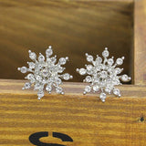 Crystal Snow Flake Stud Earrings - Earings