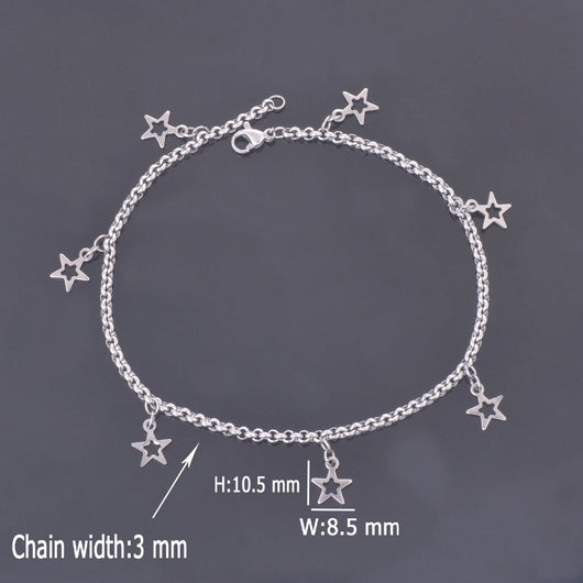 Diy Anklet Chain With Small Five-Pointed Star Charms - Anklets
