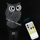 Owl Night Light 3D Led Usb - Remote