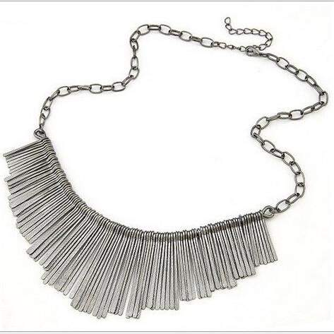 Gold Tassel Necklace Vintage Styled - Gray