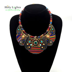 Bohemia Tribal Ethnic Multi-Color Statement Necklace