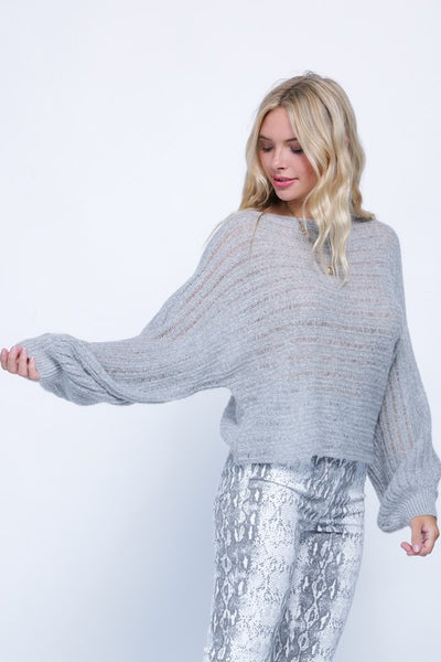 Light Knit Balloon Sleeve Sweater
