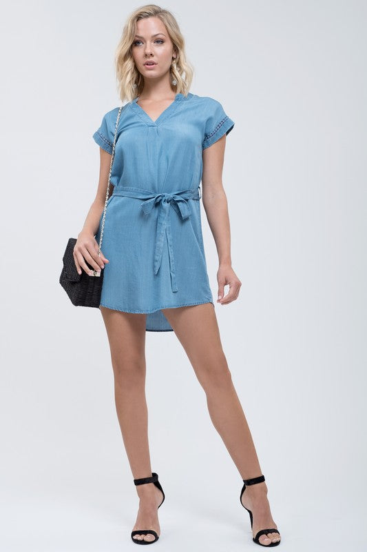 Tie Front Denim Dress