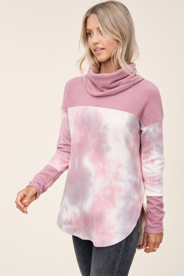 Cowl Neck Tie Dye Pullover
