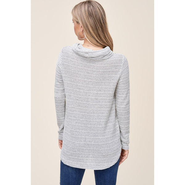 Classic Striped Cowl Neck Sweater