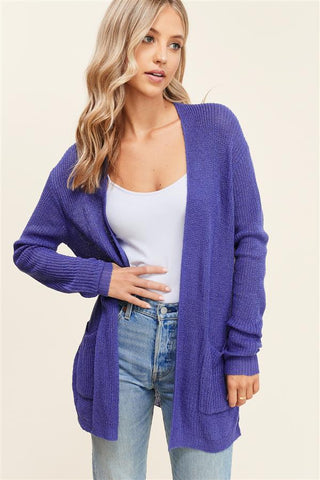 Royal Blue Cardigan w/ Pockets