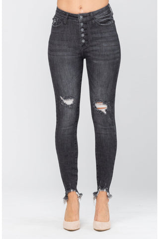 Judy Blue 5-Button Grey Distressed Denim