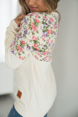 Cream Floral Accent Pullover