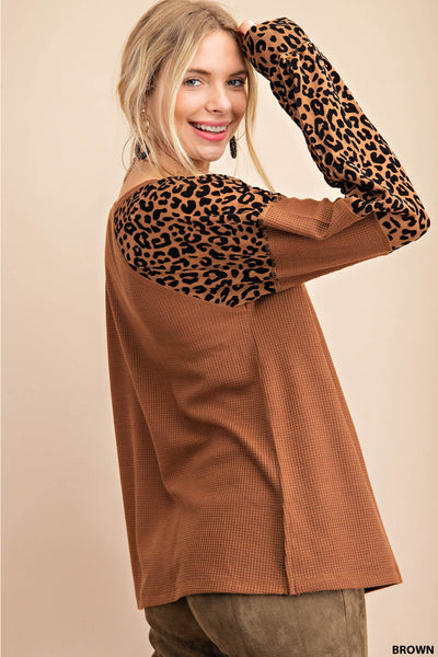 Brown Thermal Leopard Burnout Long Sleeve