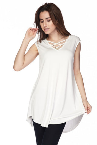 Criss Cross Sleeveless Tunic Top